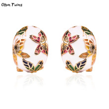 Olsen Twins Plated Gold Cloisonne Enamel Butterfly Charms Clip On Stud Earrings Oorbellen Brincos Bijoux Dropshipping