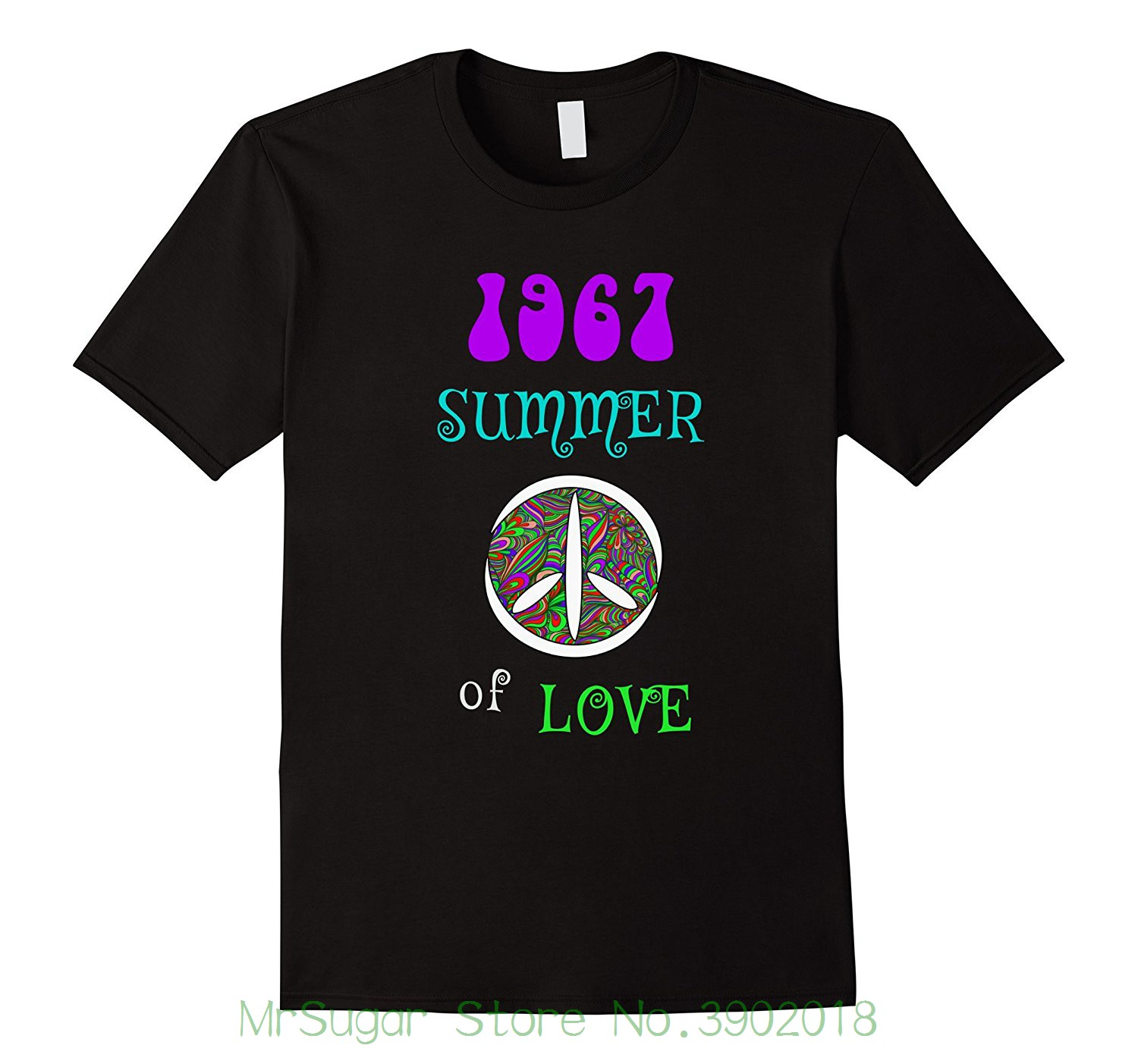 1967 Summer Of Love Hippie Peace Sign T-shirt Printed Summer Style Tees Male Harajuku Top Fitness Brand Clothing