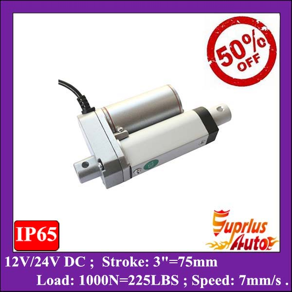 цена на WOW ! 50% DISCOUNT 12v linear actuator ! 3inch ( 75mm) Stroke, 225lbs (1000N/100KGS) electric linear actuator