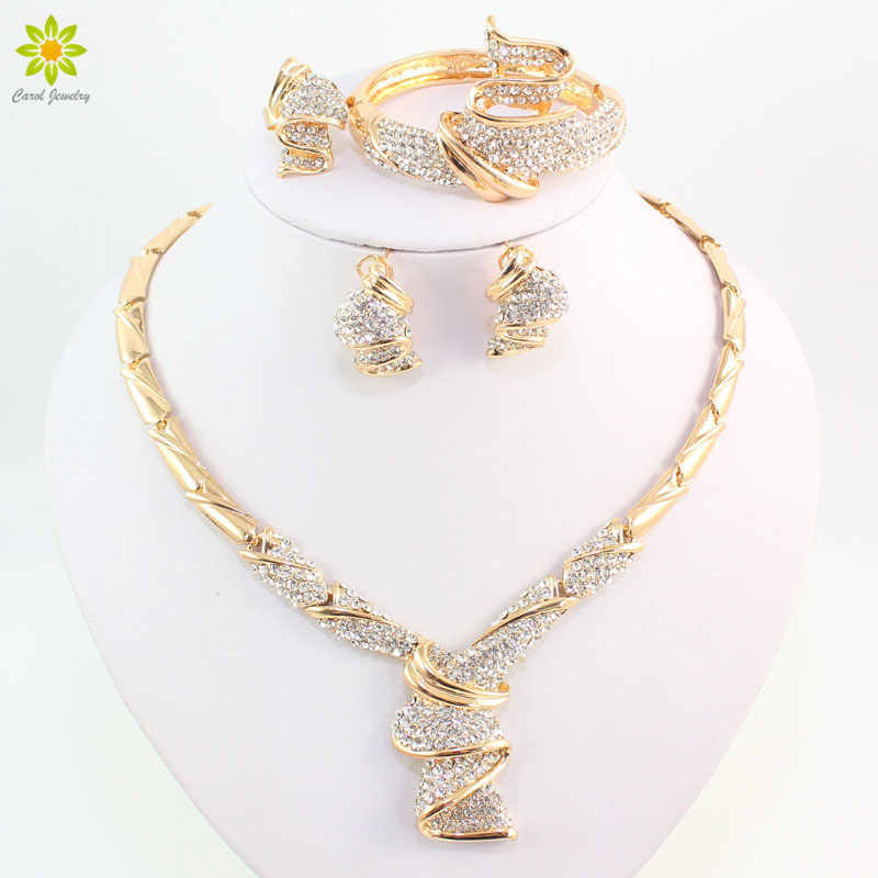 Wholesale Fashion Gold Color Alloy Rhinestone Wedding Jewelry Sets Necklace Bracelet Ring Earrings For Women Bridal