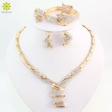 Оптовая продажа, модные свадебные ювелирные наборы золотого цвета из сплава со стразами, ожерелье, браслет, кольцо, серьги для женщин, для невесты