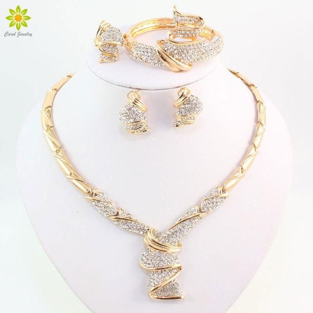 Conjuntos de joyas de boda con diamantes de imitación de aleación de Color dorado, collar, pulsera, anillo, pendientes para mujer, novia, venta al por mayor