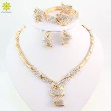 Ensembles de bijoux avec strass en alliage, couleur or, vente en gros, ensemble de bijoux collier, Bracelet, bague, boucles doreilles, pour femme, mariée