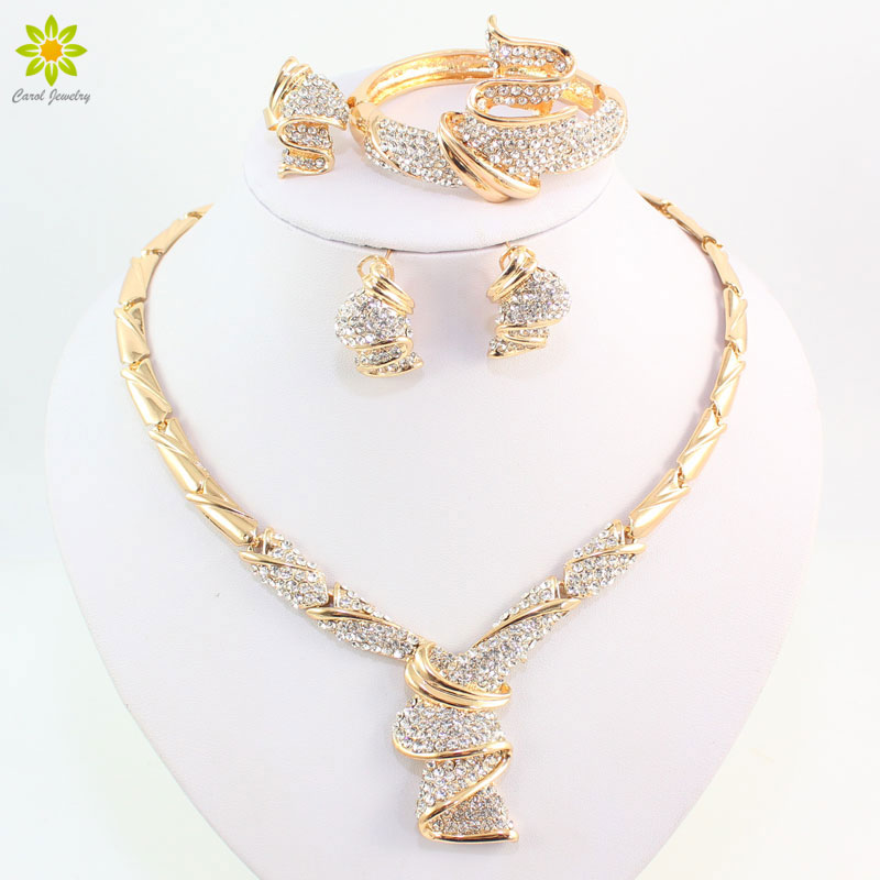 Wholesale Fashion Gold Color Alloy Rhinestone Wedding Jewelry Sets Necklace Bracelet Ring Earrings For Women Bridal a suit of charming red rhinestone bamboo necklace bracelet ring and earrings for women page 9