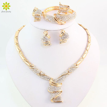 Wholesale Fashion Gold Color Alloy Rhinestone Wedding Jewelry Sets Necklace Bracelet Ring Earrings For Women Bridal - discount item  42% OFF Fashion Jewelry
