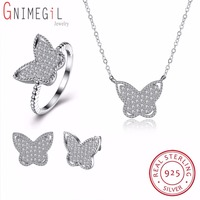 GNIMEGIL 925 Sterling Silver Butterfly Jewelry Sets Stud Earrings Pendant Necklace Earrings Wedding Engagement Jewelry Accessor
