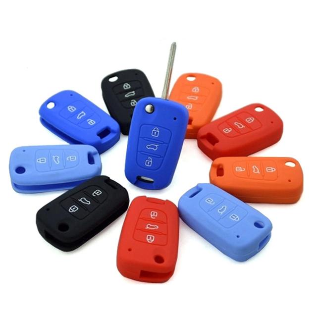 CAR-partment 3 Buttons Silicone Car Key Cover Case For Kia RIO K2 K5 Sportage Sorento For Hyundai i20 i30 i35 iX20 Solaris Verna