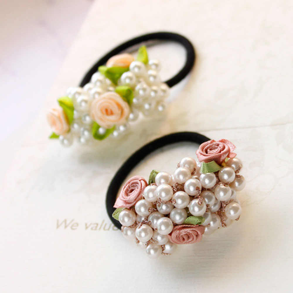 1 PC 2018 New Women Fashion Beads Flower Pearls Hair Rope Fashion Beauty Hair Decoration Hair Accessories