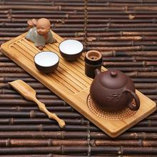 34x12x1.5cm Chinese bamboo tray classic kung fu tea set service small natural wood saucer traditional for teapot storage