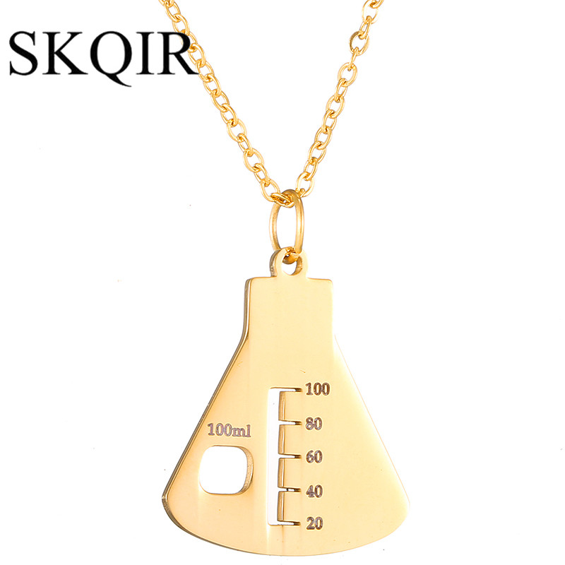 SKQIR Gold Color Medical Sign Container Pendant Necklaces Gold Nurse Necklaces Chain Stainless Steel For Women Jewelry