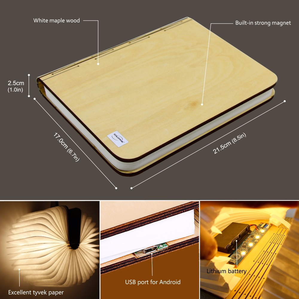 2018 Big size Wood LED Book Light Lamp Folding LED Nigh tlight Best Home Novelty Decorative USB Rechargeable gift Warm White icoco usb rechargeable led magnetic foldable wooden book lamp night light desk lamp for christmas gift home decor s m l size