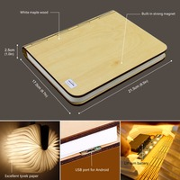 2018 Big size Wood LED Book Light Lamp Folding LED Nigh tlight Best Home Novelty Decorative USB Rechargeable gift Warm White