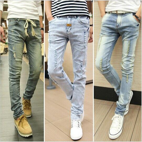 ad7d53e8e Straight Jeans 2015 Slim Fit Ripped Pants Men Full Length Off White Pantalones  Vaqueros Hombre China Roupas Baratas
