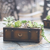 Hot Vintage Resin Suitcase Flowerpot Succulent Plants Planter Luggage Flower Pot Storage Box Home Garden Decoration Bonsai 2019