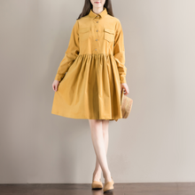 fall casual vestidos 2016 new autumn winter women long sleeve loose shirt dress female polo collar corduroy dresses plus size