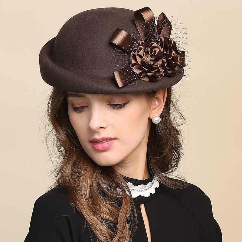 Леди фетровых шерсть шляпа девушки цветы купол шерстяные Кепки женский бассейна Кепки в рыбацком стиле милые Повседневное шерстяная шапка Регулируемый B-8728