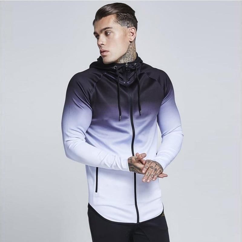 Gradient Color Long Sleeve Slim Hooded Zipper Men's Sweatshirt