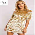 2017 new gold brick velvet 4 Colour fashion mini sexy summer short sleeve causal office women dress