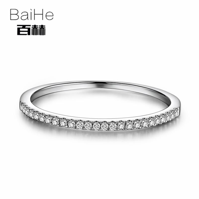 BAIHE одноцветное 10 К к белого золота 0.1CT Сертифицированный круглый 100% природных алмазов для женщин юбилей классический ювелирные УКР