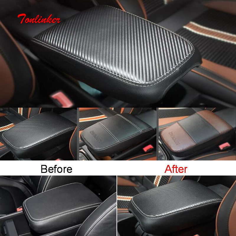 Tonlinker Cover Stickers For SKODA KODIAQ 2017-18 Car Styling 1 PCS PU Leather Armrest Position Anti-dirty Pad Cover Sticker