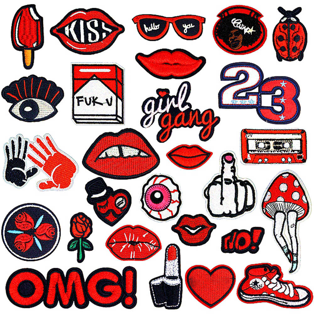Iron on Patches for Clothing small Red Mouth Lip letter hand shape embroidery clothes patch for kids T-shirt jackets repasser