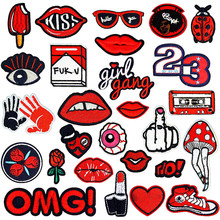 Iron on Patches for Clothing small Red Mouth Lip letter hand shape embroidery clothes patch for kids T-shirt jackets repasser(China)