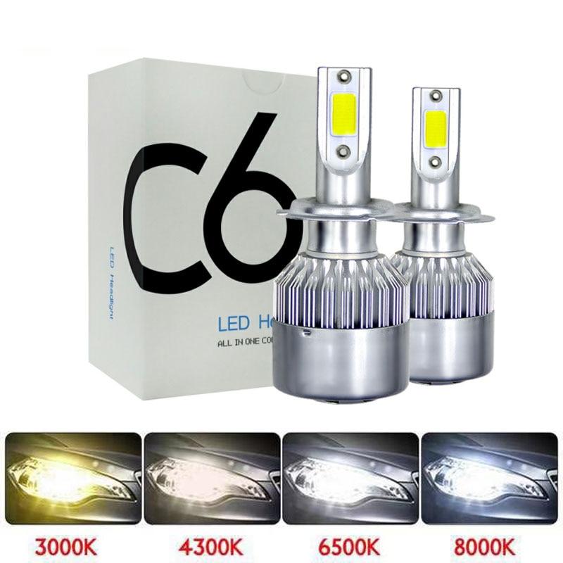 Muxall H4 H1 H7 H11 H3 LED Motorcycle Car Headlight Bulb 8000LM 72W Hi/Lo Conversion Kit 3000K 6000K Motor Bike Headlamp