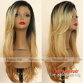 Fashion Two Tone Color Dark Root Synthetic Lace Front Wig Heat Resistant Ombre Blonde Hair Synthetic Wigs With Bangs