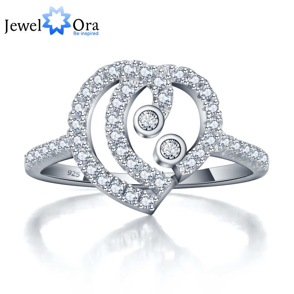 Party Rings Women 925-Sterling-Silver Heart-Design Cubic-Zirconia Jewelora for Best-Gift