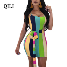 QILI Colorful Striped Dress Women Sexy Party Club Off Shoulder Dresses Belt Bow Elegant Bodycon Dress Vestidos Female Wrap недорого