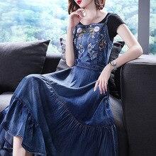 Новая мода хлопок джинсовые платья для женщин длинные до середины икры Спагетти ремень джинсы S-XL платья с вышивкой