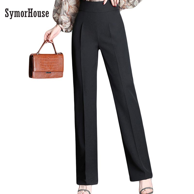 Plus Size 4XL High Waist Slim   Pants   Women New Fashion 2018 Spring autumn OL   Wide     leg     Pant   Work   Pants   Long Trousers Female