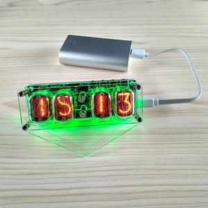 Image 2 - 4 bit integrated glow tube clock IN 12A IN 12B clock glow tube Colorful LED DS3231 nixie clock Magic Eye LED Backlight
