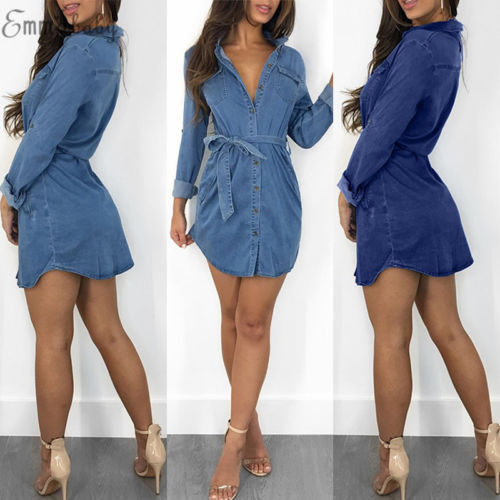 2018 New Fashion Hot Sexy Charming Women's Blue Jeans Pocket Long Sleeve Loose Shirt Mini Dress 1