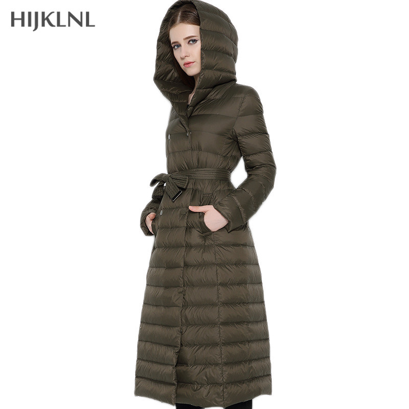 HIJKLNL Ultralight   Down   Jacket 2019 New Fashion Winter Women Hooded Double-breasted Plus Size Long Duck   Down     Coat   Parkas LH1105