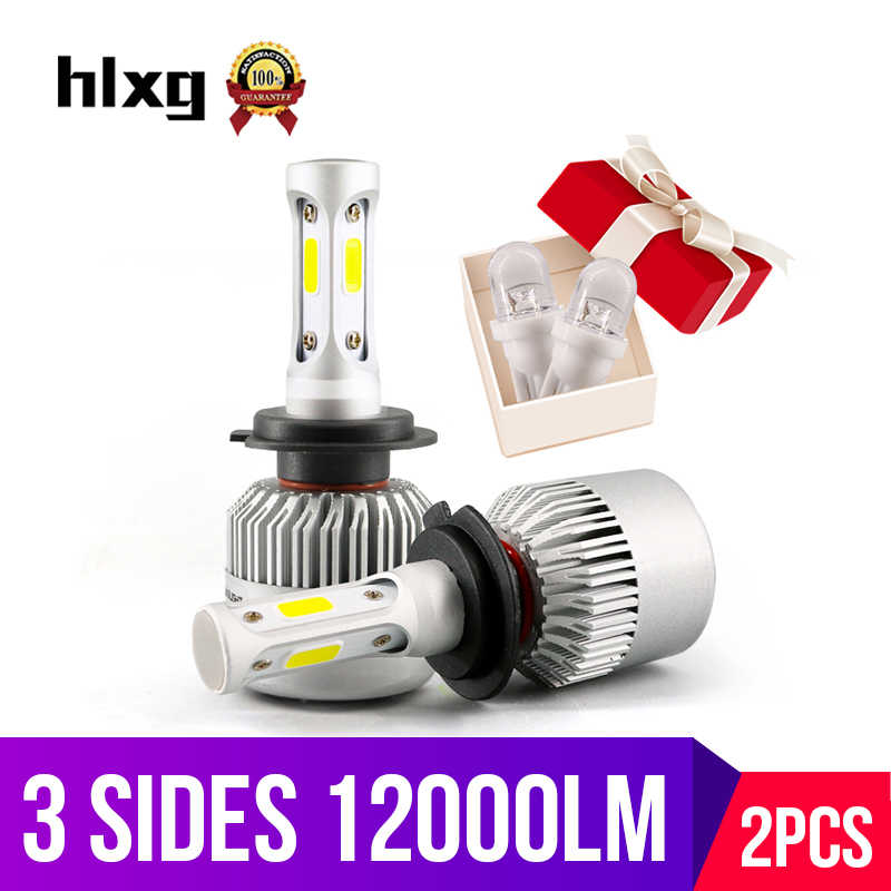 hlxg 3 Sides H7 led HB3 9005 HB4 9006 36W 12000LM Car Headlight Automobiles Front Bulb 6500K Car Lights For Nissan