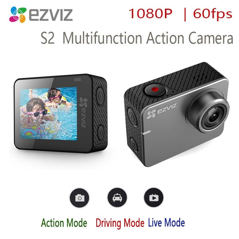 Ezviz s2 action caméra multifonction sport, diffusion en direct, conduite 1080P60fps écran tactile 2 pouces