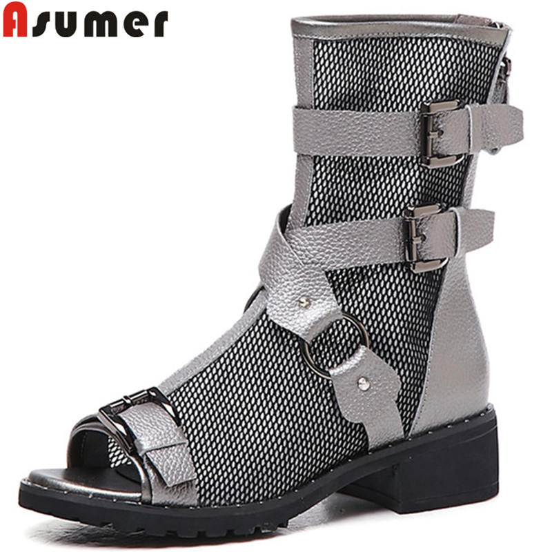 ASUMER 2019 new summer ankle boots for women buckle mesh+cow leather shoes women med heelsshoes fashion summer shoes women bootsASUMER 2019 new summer ankle boots for women buckle mesh+cow leather shoes women med heelsshoes fashion summer shoes women boots