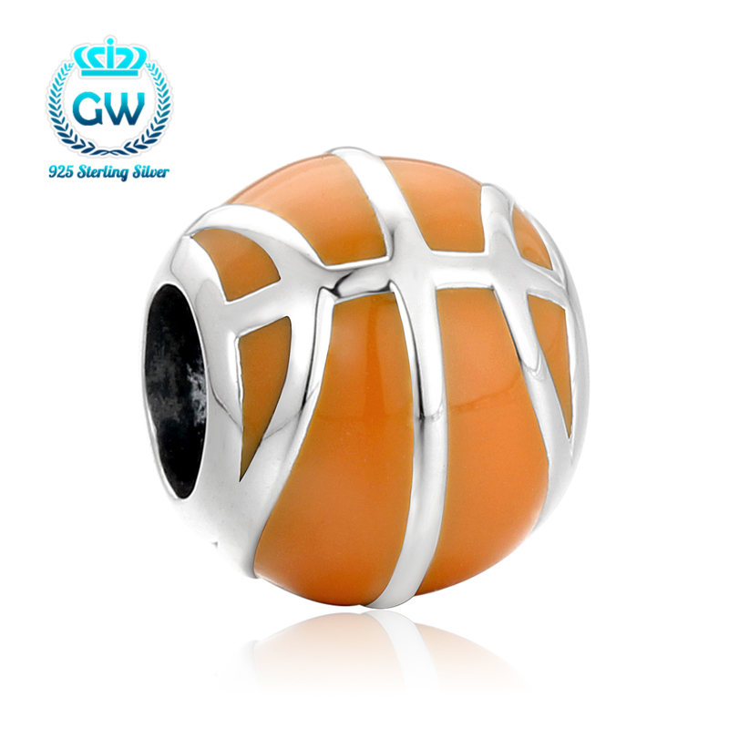 High Really make like Basketball Charm Beads Fit Original Pandora Bracelet Authentic 925 Sterling Silver Jewelry D212-30