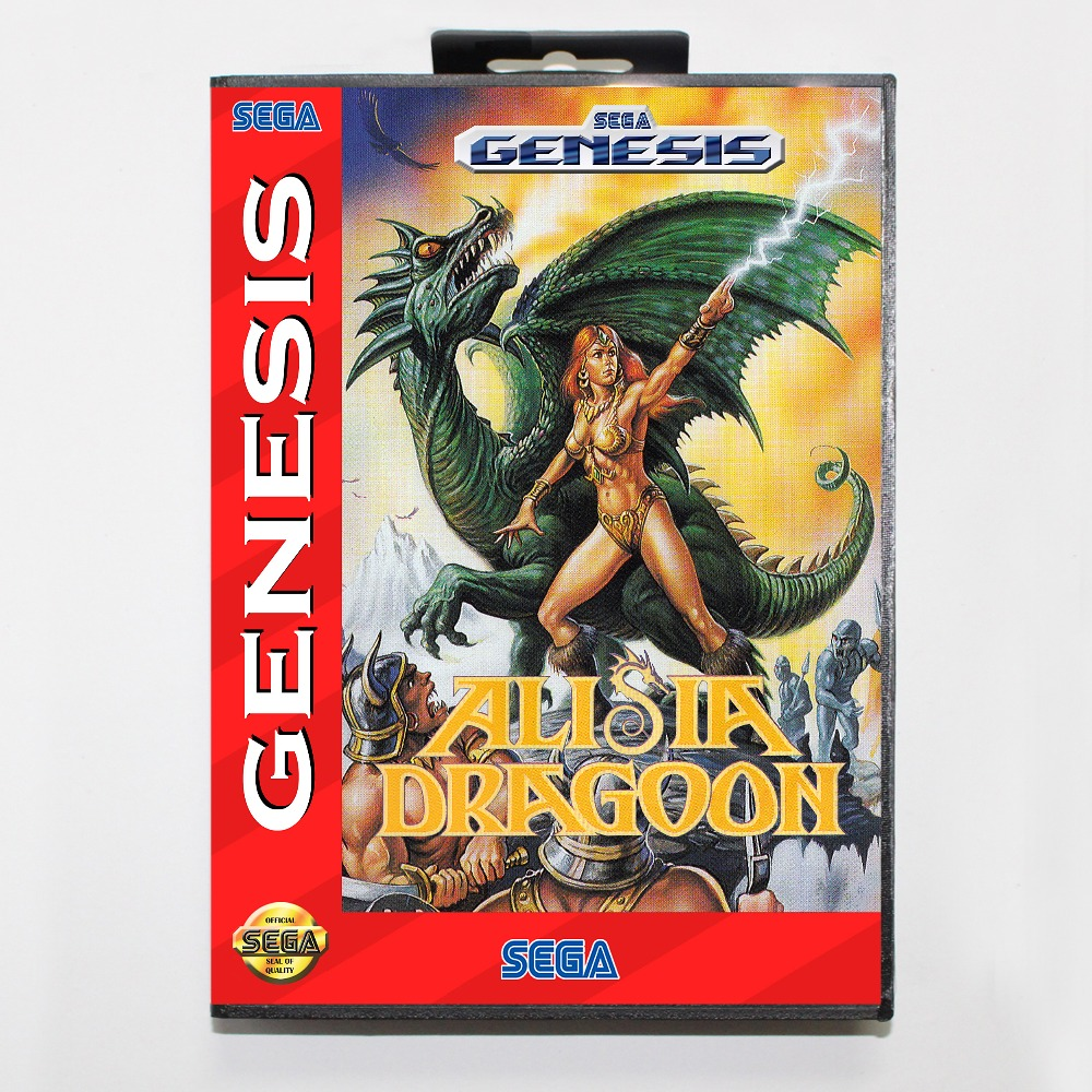 New 16 bit MD game card - alisia dragoon with Retail box For Sega genesis system