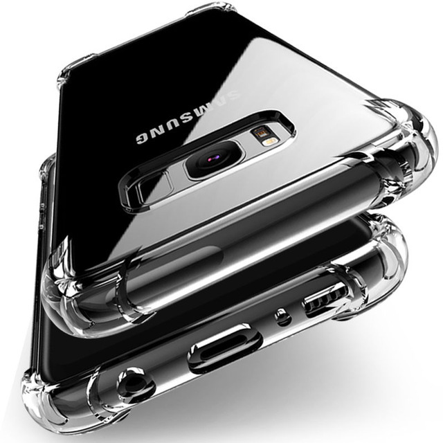 Shockproof Clear Silicone Case For Samsung Galaxy S7 edge A5 A7 J5 J7 2017 S8 S9 S10 Plus Note 9 8 A6 A8 Plus A7 2018 A50 Cover