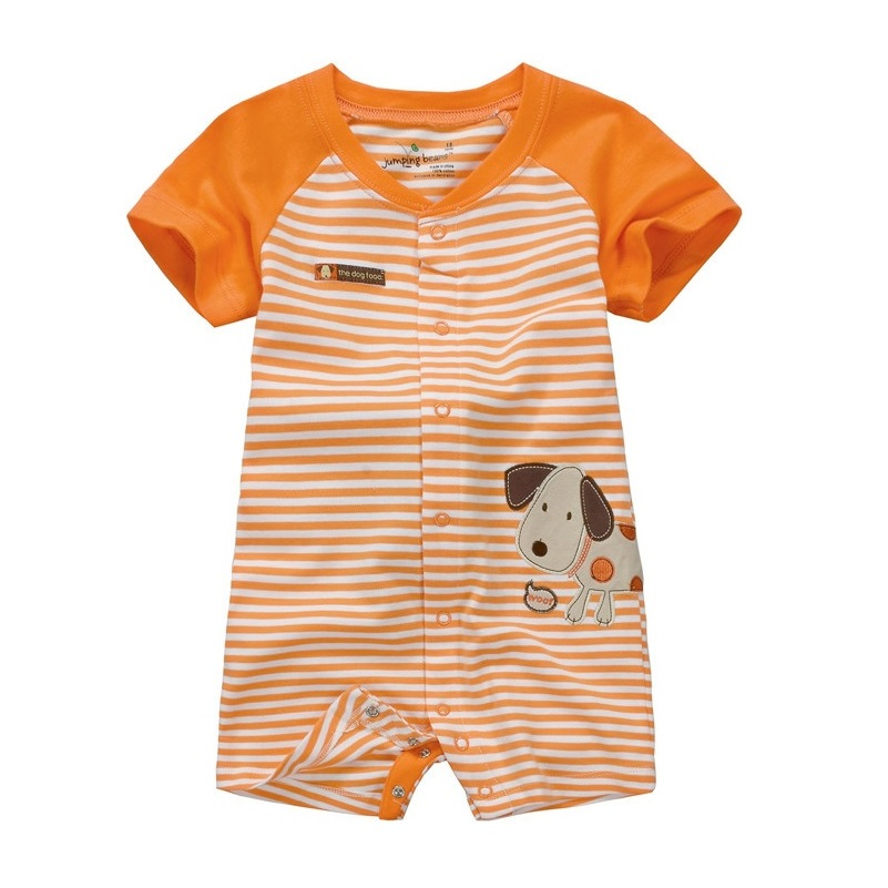 jumping beans Baby Boys Rompers Babywear Baby One-Piece Clothing 100% Cotton stripe orange dog baby clothes ...
