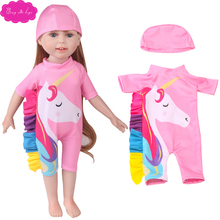 18 inch Girl dolls clothes pink Unicorn swimsuit cap jumpsuits American newborn dress Baby toys fit 43 cm baby c745