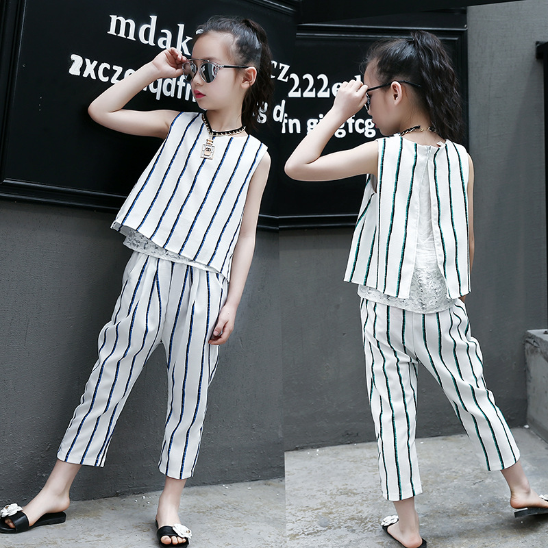 2Pcs Little Girl Summer Clothing Set Kids Outfits Striped Sleeveless Vest Tops+pant Suits Teenage Clothes for Girls 12 Years Old 2pcs children outfit clothes kids baby girl off shoulder cotton ruffled sleeve tops striped t shirt blue denim jeans sunsuit set