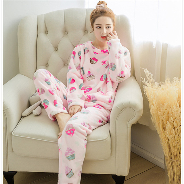 autumn winter coral fleece sleepwear women thickening flannel pajama sets  cotton long-sleeve set lounge nightgown home clothing 4dfae07d2