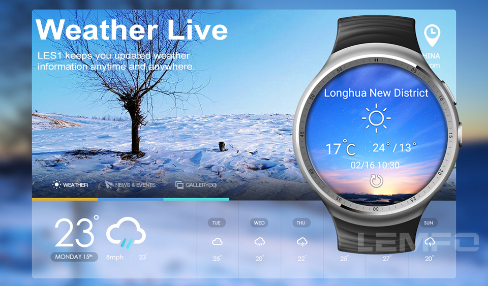 LEMFO LES1 Smartwatch With SIM Card Support GPS/ WIFI Heart Rate Pedometer with Bluetooth Sunglasses Headset Earphone Fashional