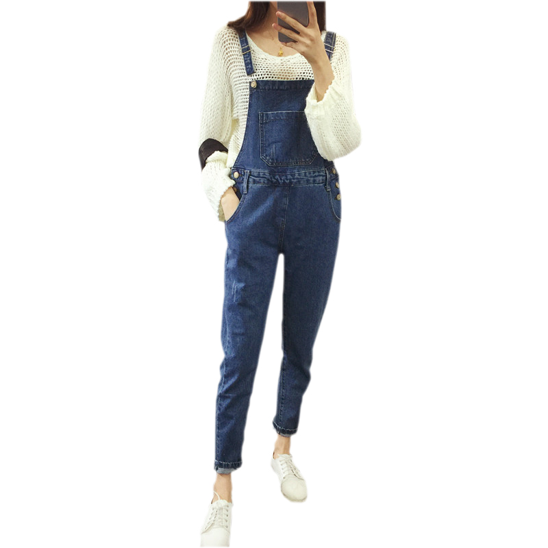 Free Shipping 2016 Womens Jumpsuit Denim Overalls High Waist Casual Vintage Loose Pants Pockets Women Boyfriend Jeans Plus Size 2015 new fashion women s overalls trousers plus sizes women casual jeans denim suspenders pants jumpsuit free shipping q548
