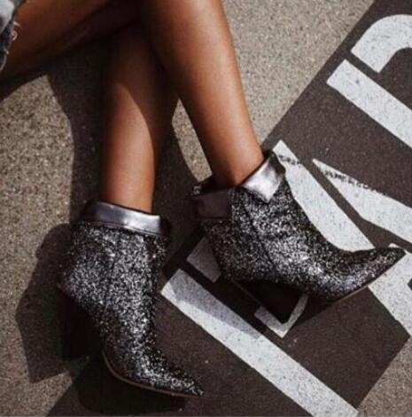 2018 Fashion Fold Boots Bling Silver Glitter Women Ankle Boots Sexy Spike Heels Pointy Toe Ladies Finger Heel Slip On Party glitter silver stars patchwork women sexy transparent pvc boots fashion peep toe ladies square heel ankle boots zipper back boot