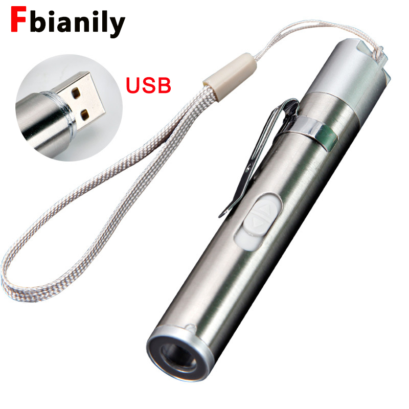 USB Tactical Doctors Flashlight Torch LED Pen USB Rechargeable Build In Battery Pen Light Hanging With Medical Fashlight