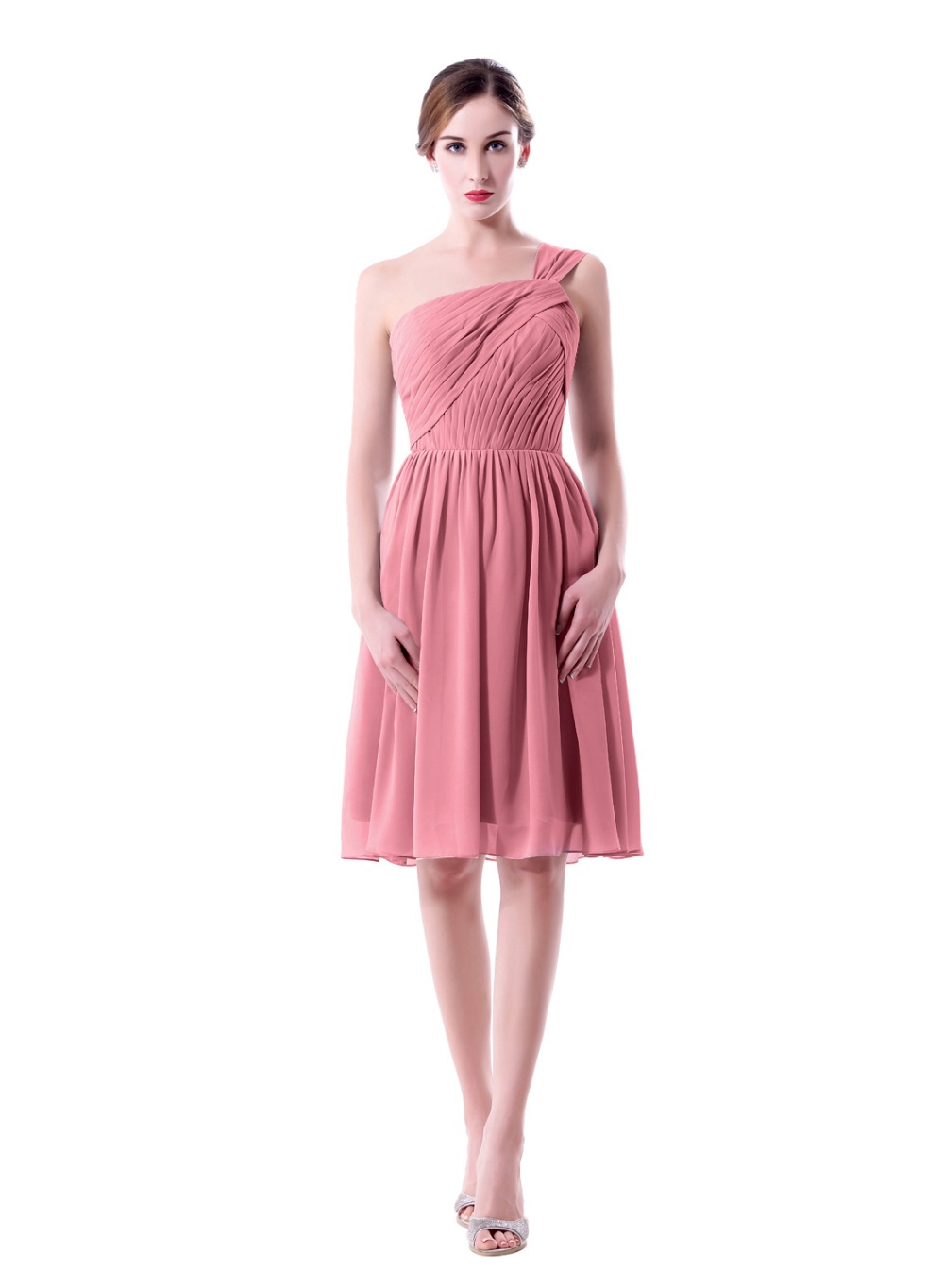 Ein Schultergurt Knielangen Staubige Rose Brautjungfer Kleid ...
